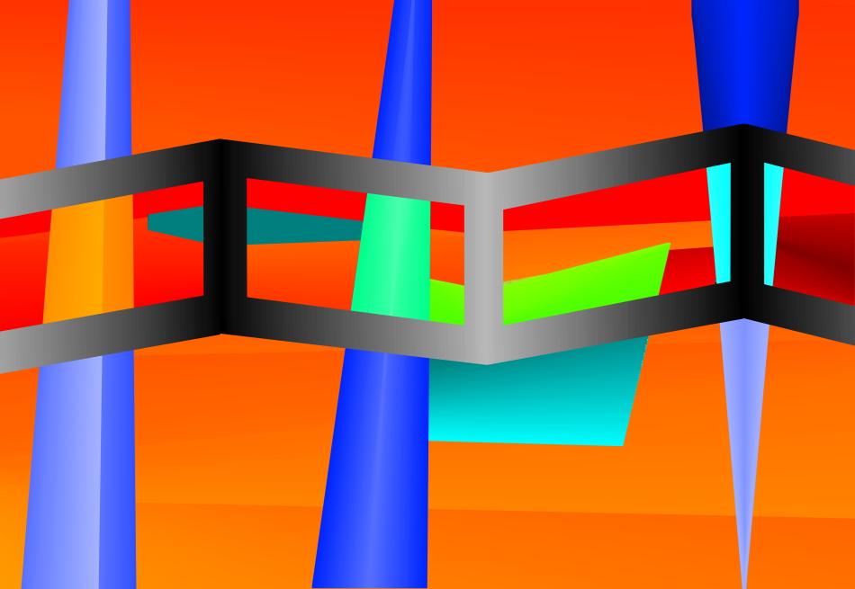 Grafik, moderne Kunst, Geometrie, Philosophie, analog, digital, orange,