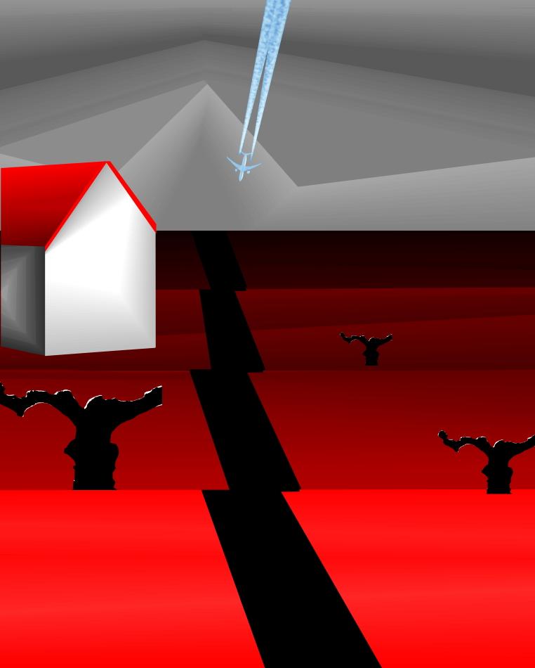 Grafik, Moderne Kunst, Landschaft, rot, Flugzeug, Düsenjet, Haus, Weg, schwarz, grau, Depression,