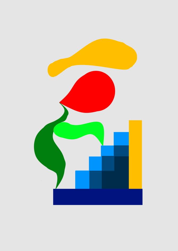 Grafik, moderne Kunst, Stufen, Mensch, rot, grün, blau, gelb, gold