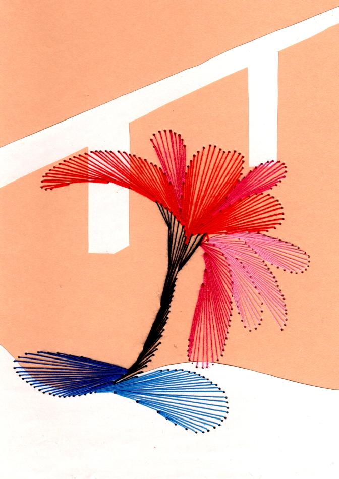 exklusive Faltkarte, Fadentechnik, Grußkarte, Grafik, moderne Kunst, Sommeraster, Fauvismus, rot, pink, blau,