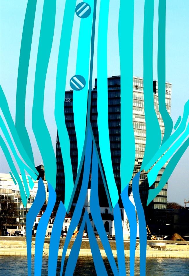 Grafik, Kunst, Moderne Kunst, Anzug, blau, gelb, pink, weiß, schwarz