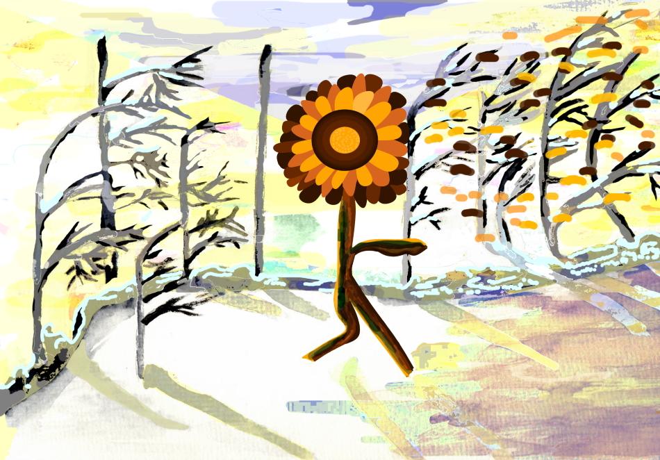 Grafik, Kunst, moderne Kunst, Impressionismus, Winter, Winterlandschaft, braun, Pflanze,