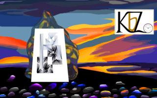 Plakat, Kunstplakat, Plakatkunst, Fadenbild, Papierstickerei, exklusive Faltkarte, Kunst, moderne Kunst, Abstraktes, Geometrie, Trauer, schwarz, grau,