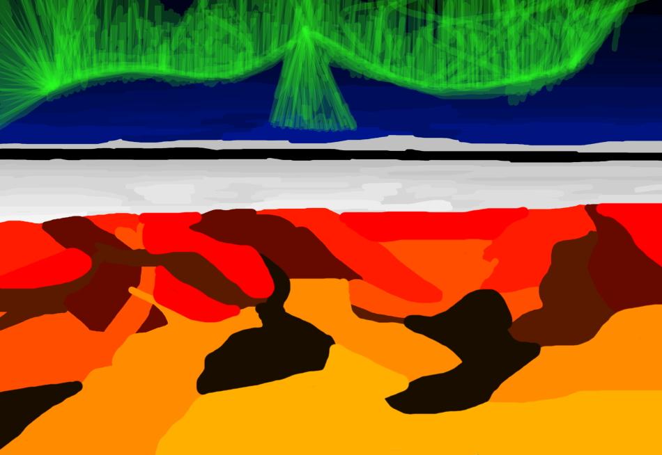 Grafik, Kunst, Moderne Kunst, Wüste, Schnee, Polarlicht, Nacht, Arktis, Antarktis, Sahara,